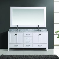 London 72-inch White Finish Double Sink Vanity Set with ...