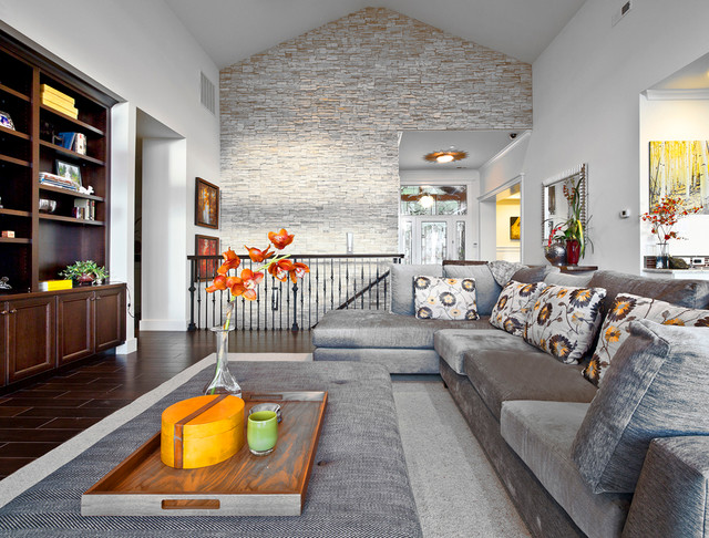 Kirkland Custom Living Room with Stone Accent Wall  Transitional  Living Room  Seattle  by