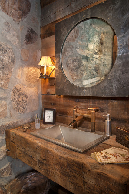 Sunset Ranch Rustic Powder Room Other By Dubbe