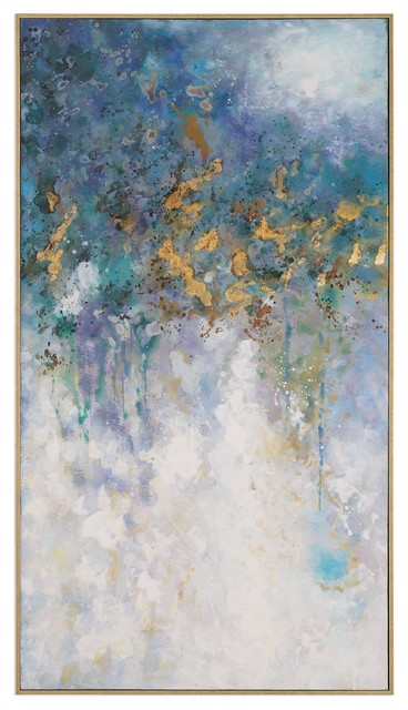 Oversize 53 Abstract Gold Blue White Wall Art Lightning