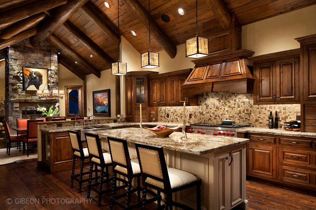 Whitefish Montana Private Lake House Remodel Rustic Kitchen