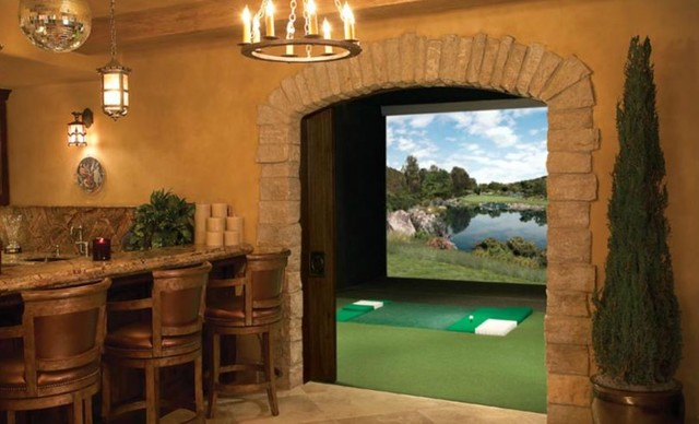 Man Cave Full Swing Golf Simulator Traditional Home