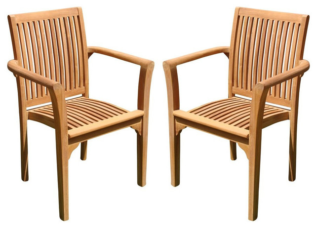 lua stacking arm chairs teak outdoor dining patio set of 2