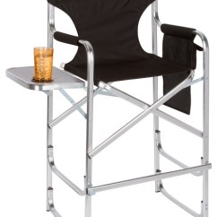 Outdoor Folding Chair With Side Table Low Back Office Aluminum Frame Tall Metal Director S Black Contemporary Chairs By Trademark Innovations