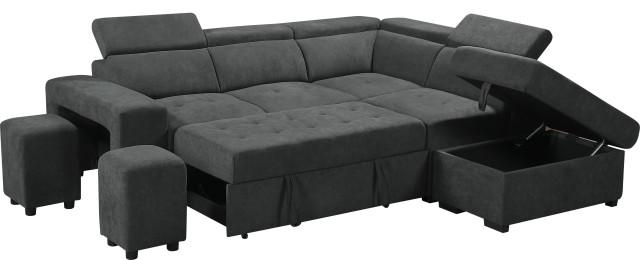 henrik gray sleeper sectional sofa with storage ottoman and 2 stools dark gray