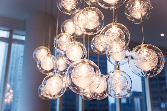 Kadur Custom N Glass Chandelier Manhattan Loft Apartment Modern Dining Room