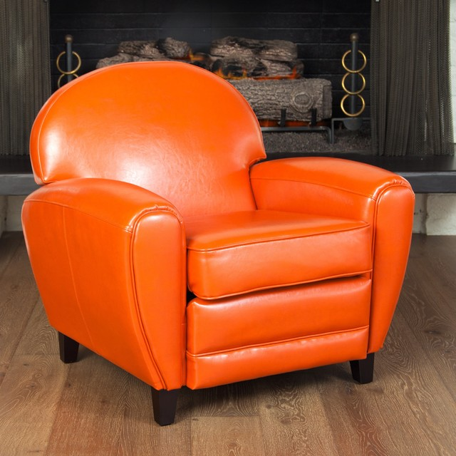 Oversized Burnt Orange Leather Club Chair  Contemporary