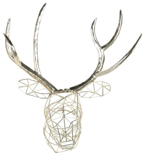 Milty Geometric Hanging Deer Head Silver Metal Wall Art