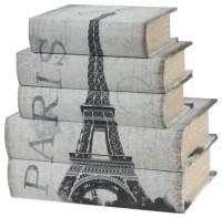 Wooden Book Boxes Paris, 5-Piece Set - Contemporary ...