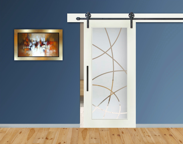 modern sliding barn door with frosted glass insert hardware 28 x81 right