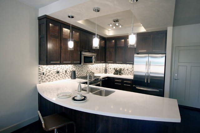 Contemporary Kitchen White Quartz