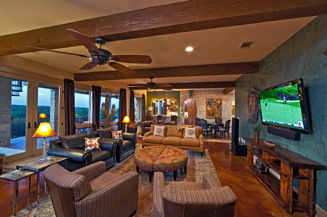 tan leather couch living room north shore rustic area - family austin by ...