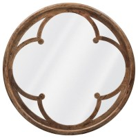 Neve Modern Brown Wood Round Large Mirror - Transitional ...