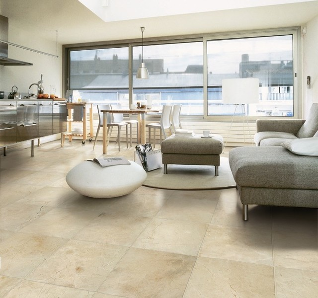 Crema Marfil Marble Flooring  Contemporary  Living Room  Orange County  by MSI