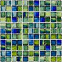 Green and Blue Swirl Handmade Glass Tile - Contemporary ...