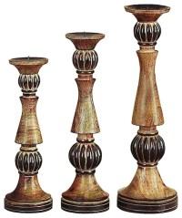 Elegant Set of 3 Wood Pillar Style Candle Holders Dark ...