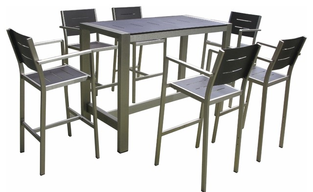Aluminum Bar Table And Stools, 7-Piece Set