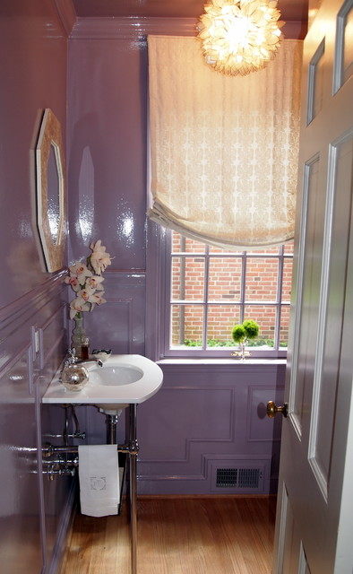 Lavender Lacquered Powder Room Traditional Powder Room Baltimore By Elizabeth Reich