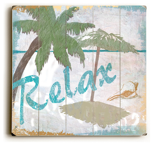 Relax  Wood Wall Decor by ArtLicensing  Tropical  Prints And Posters  by Lightning ECommerce