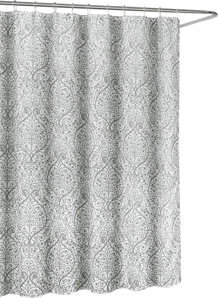 leona grey white sheer fabric shower curtain floral scroll damask design