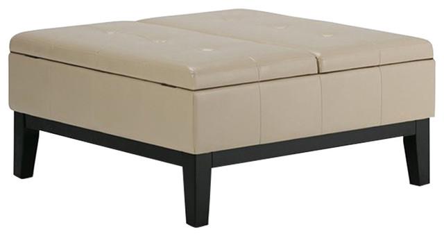 atlin designs faux leather coffee table storage ottoman in cream