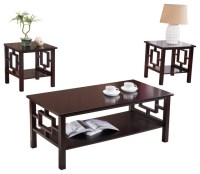 3-Piece Cherry Finish Wood Coffee Table & 2 End Tables ...