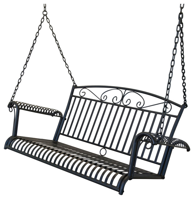 Wrought Iron Outdoor Patio 4' Porch Swing, Black