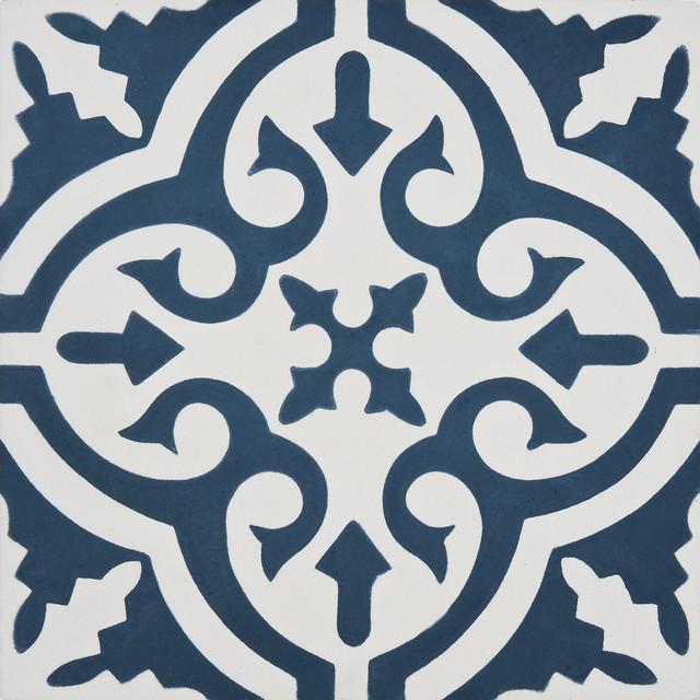 8 x8 argana handmade cement tile navy blue white set of 12