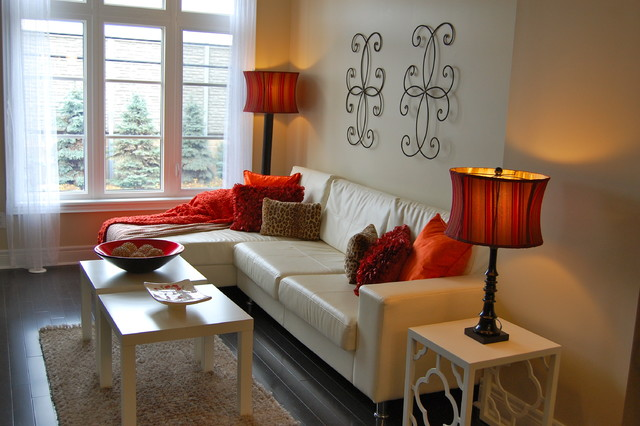 Contemporary Townhouse Staged Red Accent Traditional