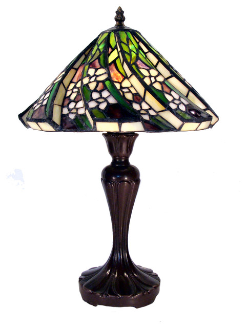 Tiffanystyle White Flower Table Lamp  Traditional