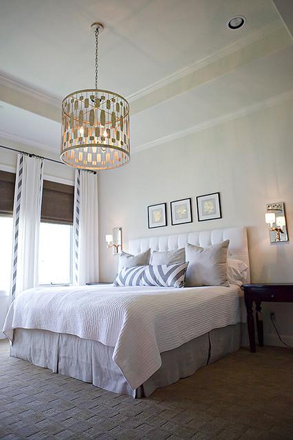 Master bedroom Worlds Away Chandelier Schumacher fabric