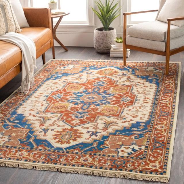 Surya Zeus Zeu 8002 Traditional Area Rug Mediterranean Hall | Burnt Orange Stair Carpet | 4500 10538 | Non Slip | Orange Area Rug | Overstock | Self Adhesive