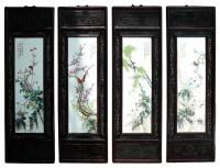 Chinese Porcelain 4 Season Flower Bird Wall Panel Set ...