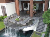 Backyard Patios and pool waterfall, water feature and fire ...