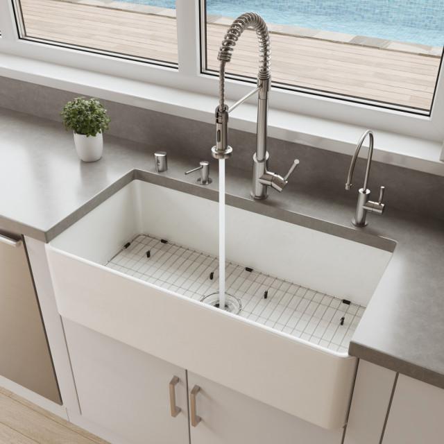 abf3618 36 white thin wall single bowl smooth apron fireclay kitchen farm sink