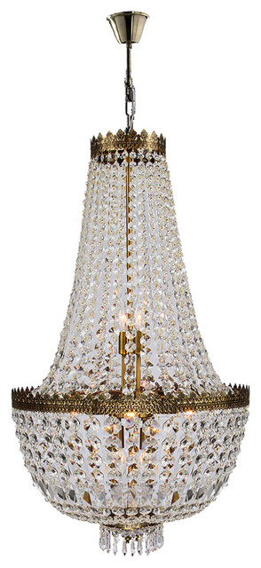 French Empire 8 Light Antique Bronze Clear Crystal Basket Chandelier Traditional Chandeliers