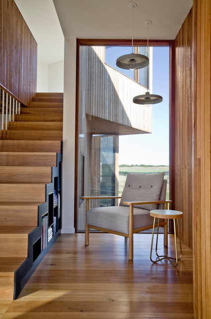 contemporary artwork living room soundproof 13th beach house stair and reading nook - ...