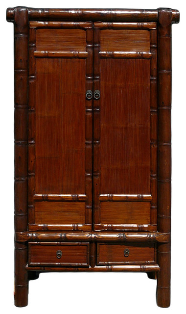 Chinese Solid Wood Carved Bamboo Simulated Cabinet Armoire
