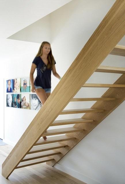 Custom Open Tread Oak Stair Contemporary Staircase   Open Tread Staircase Designs