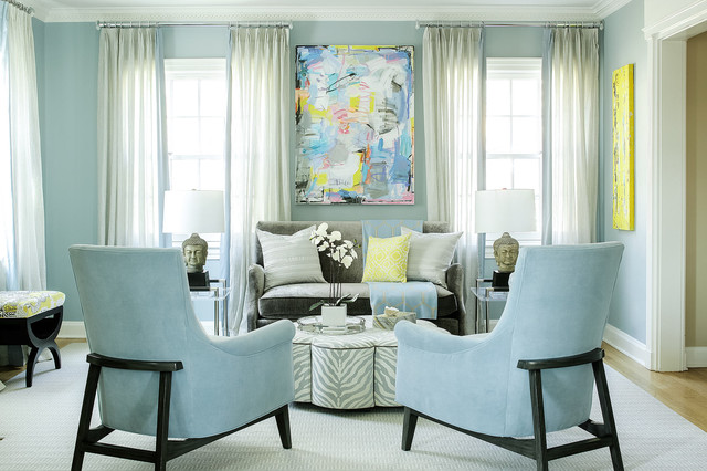 Good Baby Blue Living Room Transitional New York By