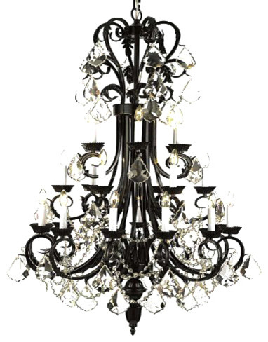 Large Foyer Entryway Wrought Iron Chandelier Traditional Chandeliers