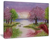 """""""Romantic Lake in Pink And Green"""" Wall Art Landscape ..."""