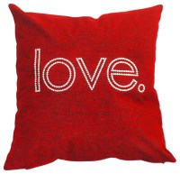 "Sparkles Home Throw Pillow Decorated With ""Love"