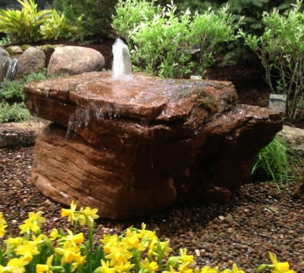 bubbling fountain rock - rustic