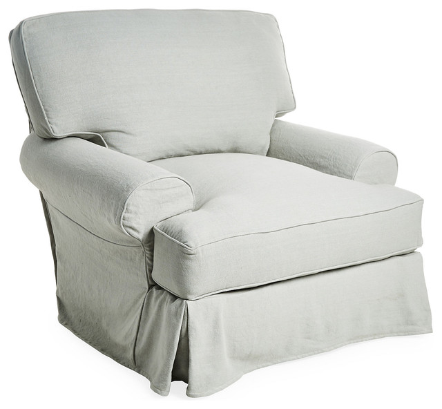 Comfy Linen Swivel Chair Silver Sage  Contemporary
