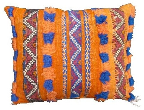 Mediterranean Cotton Pillow Cover In Blue Green Moroccan