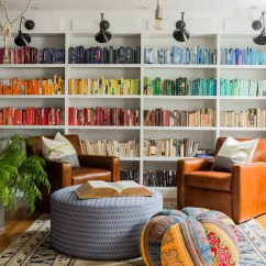 Living Room Furniture For Less Second Hand 5 Benefits Of Rearranging Your Stress Dig This Colorful Eclectic Family Design Style Wall Floor To Ceiling Bookshelf With Color Coded Books