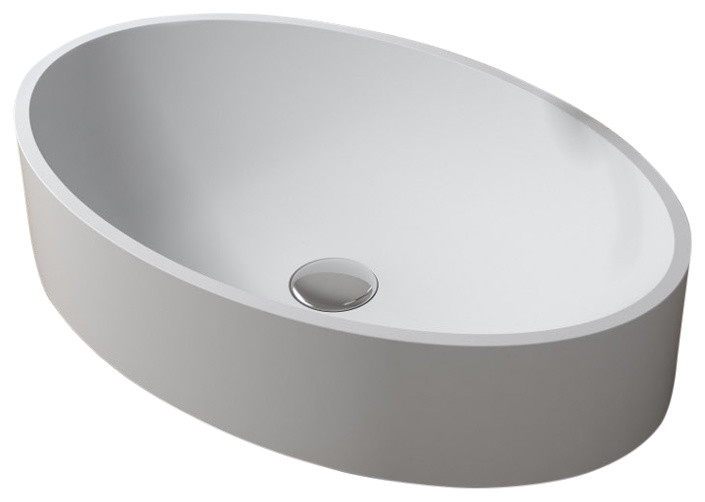 polystone oval vessel bathroom sink glossy white no faucet