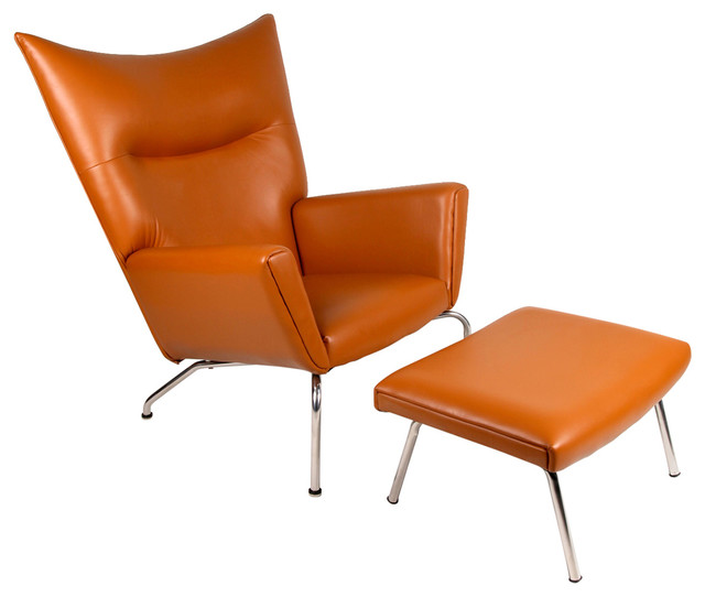 leather wing chairs isokinetic ball chair modern aniline and ottoman 2 piece set contemporary armchairs accent by kardiel