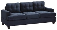 Tufted Sofa, Navy Blue Suede - Traditional - Sofas - by ...